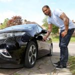 England star Glen Johnson in electric form with Vauxhall Ampera fleet addition