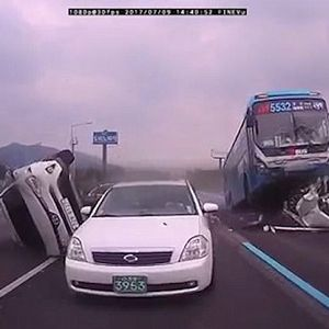 Bus Crashes Into Cars On South Korean Motorway style=