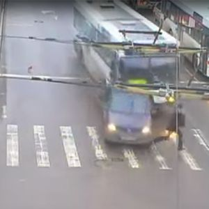 WATCH: Man Has Near Miss With Bus style=