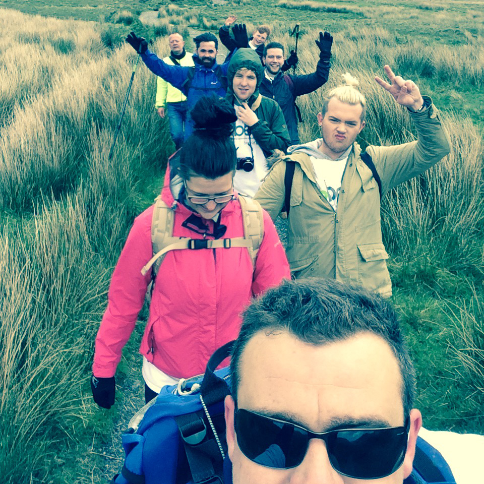 The team on their way up Snowdon