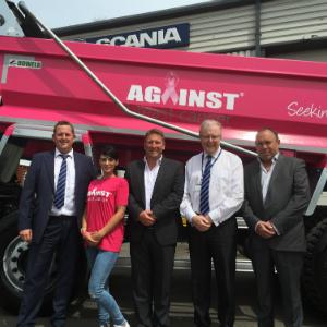pink tipper truck