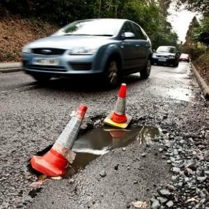 potholes in road