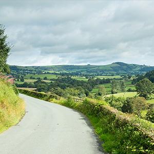 Rural road left hand bend