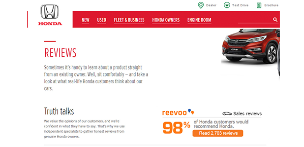 Honda dealer network gets the perfect Reevoo