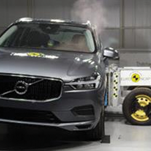The Volvo XC60 in Euro NCAPs side crash test at Thatcham Research