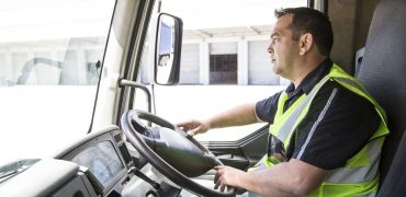 Lorry driver leaving a warehouse