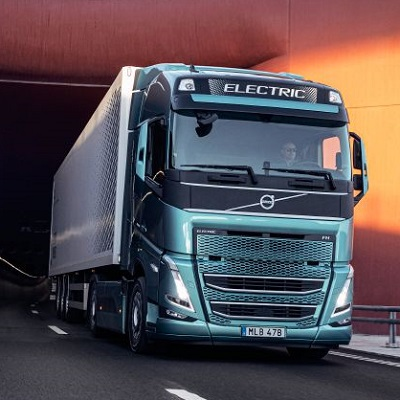 Volvo truck emerging from tunnel
