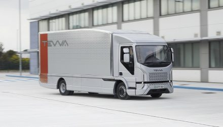 All-electric Tevva 7.5 tonne truck on office forecourt