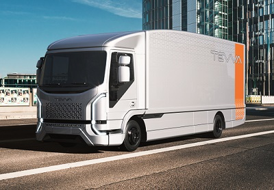 All-electric Tevva 7.5 tonne truck on the road