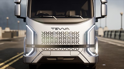 Front view of all-electric Tevva truck