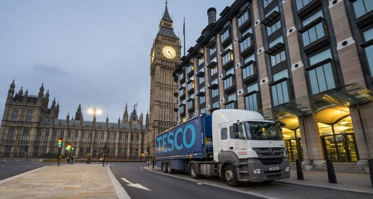 Tesco lorry outside the houses of parliament