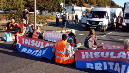 A20 protesters sitting in the road