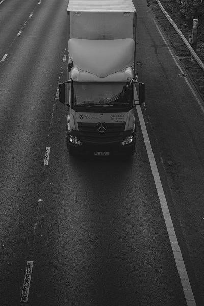 Lorry driving on the road