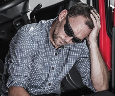 Stressed truck driver