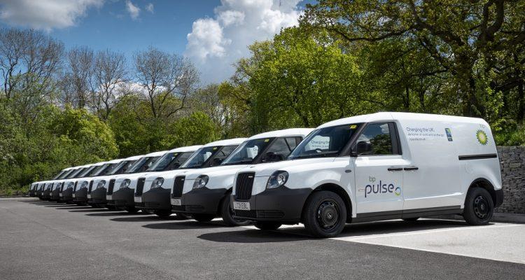 Row of LEVC bp pulse vans