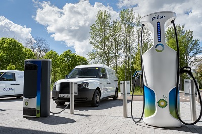 LEVC being charged at bp pulse charging station