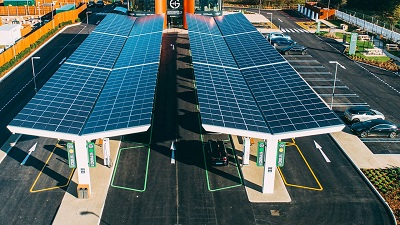 An arial view of a charging station