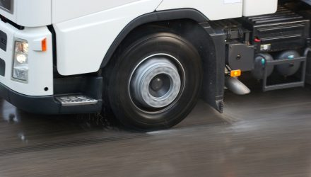 Lorry wheel in wet conditions