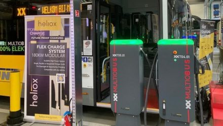 Electric buses being charges