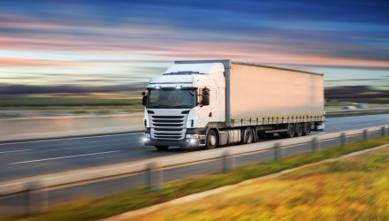 Lorry driving along the road