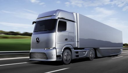 Mercedes Benz eActros truck on the road