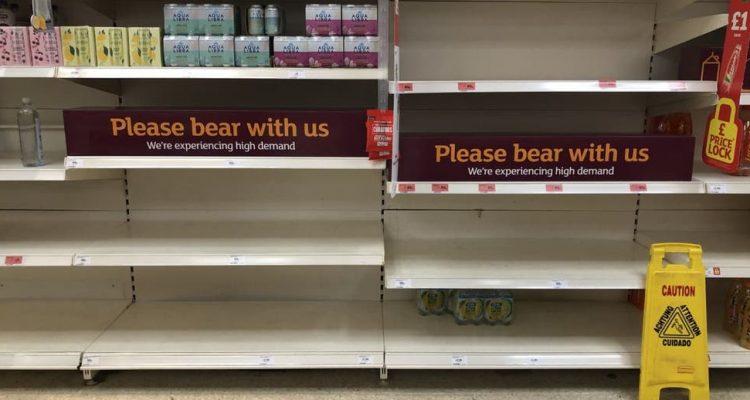 Empty shelves in a supermarket