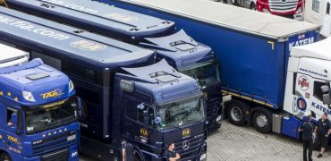 Trucks waiting at a ferry port