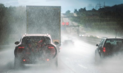 A wet and busy motorway