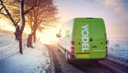 Yodel van in the snow