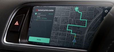 Dashboard display showing route to what3words destination